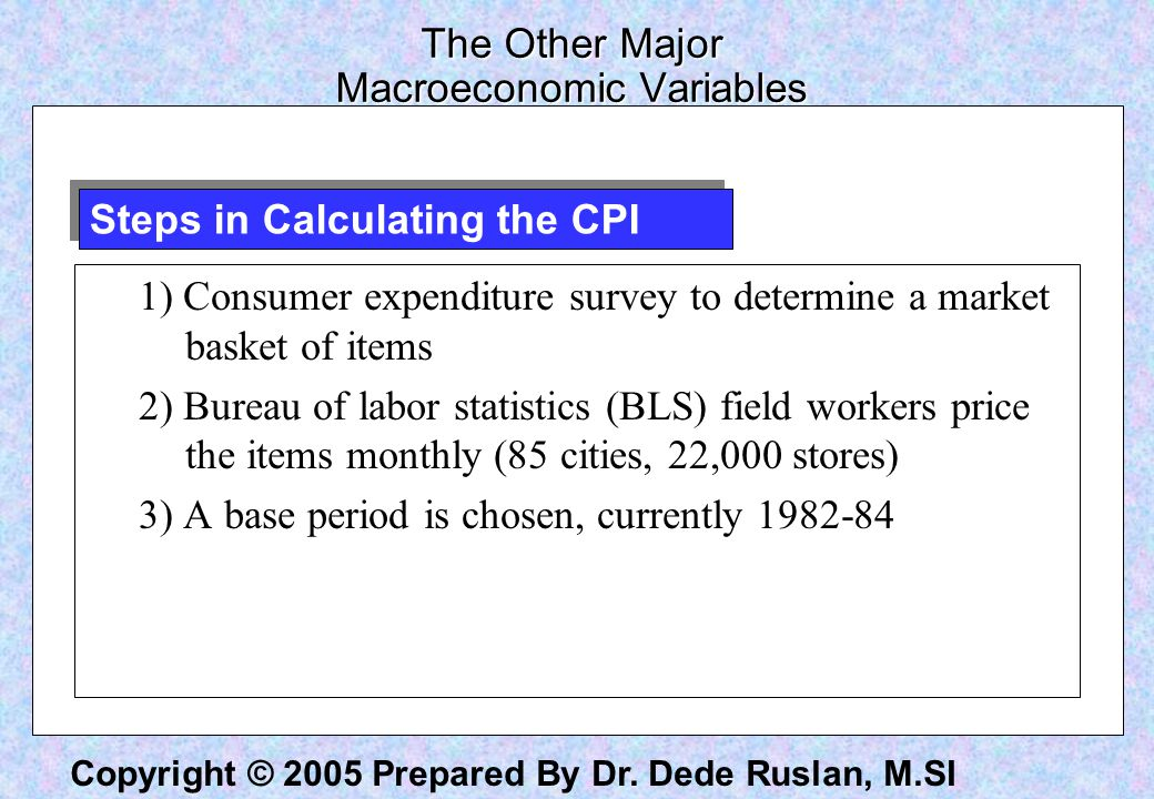 Copyright © 2005 Prepared By Dr. Dede Ruslan, M.SI The Other Major Macroeconomic Variables 1) Consumer expenditure survey to determine a market basket
