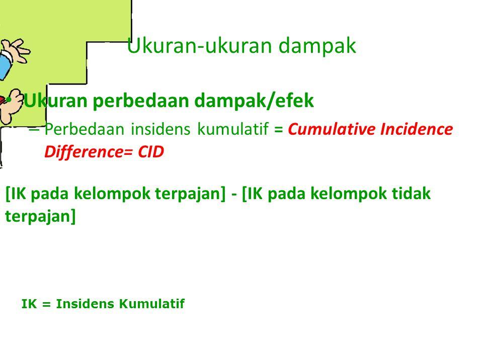 Ukuran-ukuran dampak Ukuran perbedaan dampak/efek – Perbedaan insidens kumulatif = Cumulative Incidence Difference= CID [IK pada kelompok terpajan] -