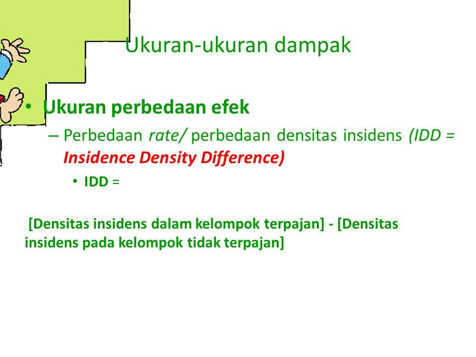 Ukuran-ukuran dampak Ukuran perbedaan efek – Perbedaan rate/ perbedaan densitas insidens (IDD = Insidence Density Difference) IDD = [Densitas insidens