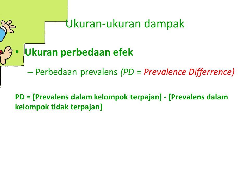 Ukuran-ukuran dampak Ukuran perbedaan efek – Perbedaan prevalens (PD = Prevalence Differrence) PD = [Prevalens dalam kelompok terpajan] - [Prevalens d