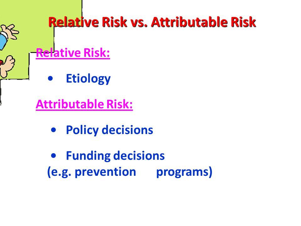 Attributable Risk Percent (AR%) AR% = (I exposed – I nonexposed ) / I exposed = Etiologic fraction Smoke YesNo Yes8429163000 No8749135000 Develop CHD AR% = (28.0 – 17.4) / 28.0=37.9% I SM = 84 / 3000 = 0.028 = 28.0 / 1000 I NS = 87 / 5000 = 0.0174 = 17.4 / 1000 (background risk)