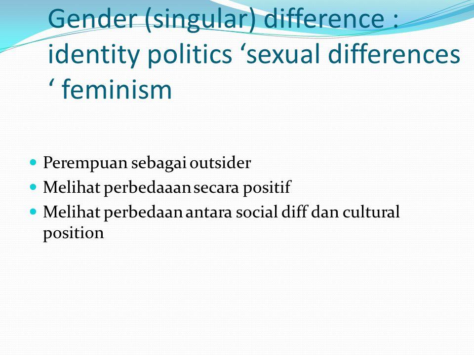 Gender (singular) difference : identity politics 'sexual differences ' feminism Perempuan sebagai outsider Melihat perbedaaan secara positif Melihat perbedaan antara social diff dan cultural position