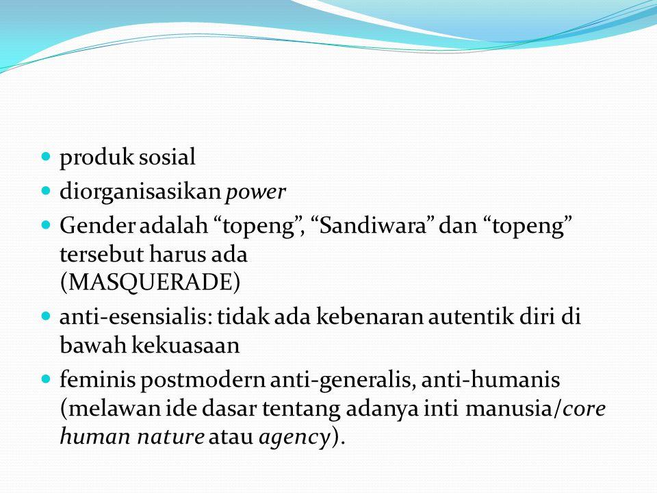 produk sosial diorganisasikan power Gender adalah topeng , Sandiwara dan topeng tersebut harus ada (MASQUERADE) anti-esensialis: tidak ada kebenaran autentik diri di bawah kekuasaan feminis postmodern anti-generalis, anti-humanis (melawan ide dasar tentang adanya inti manusia/core human nature atau agency).