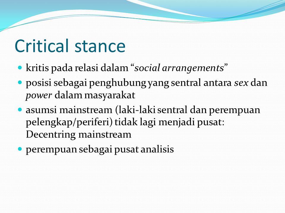 Critical stance kritis pada relasi dalam social arrangements posisi sebagai penghubung yang sentral antara sex dan power dalam masyarakat asumsi mainstream (laki-laki sentral dan perempuan pelengkap/periferi) tidak lagi menjadi pusat: Decentring mainstream perempuan sebagai pusat analisis