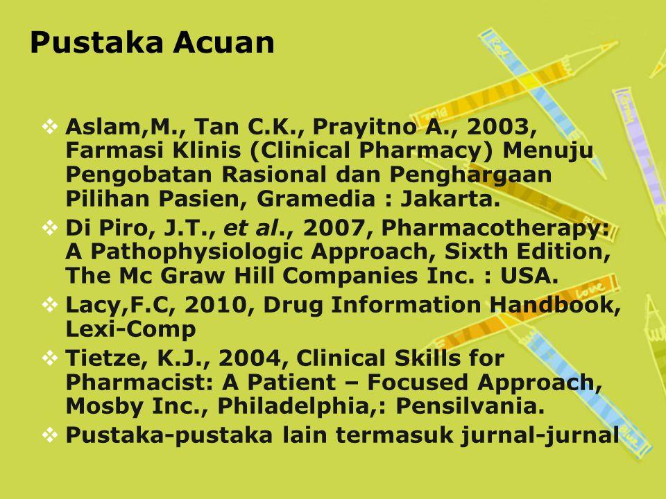 Pustaka Acuan  Aslam,M., Tan C.K., Prayitno A., 2003, Farmasi Klinis (Clinical Pharmacy) Menuju Pengobatan Rasional dan Penghargaan Pilihan Pasien, Gramedia : Jakarta.