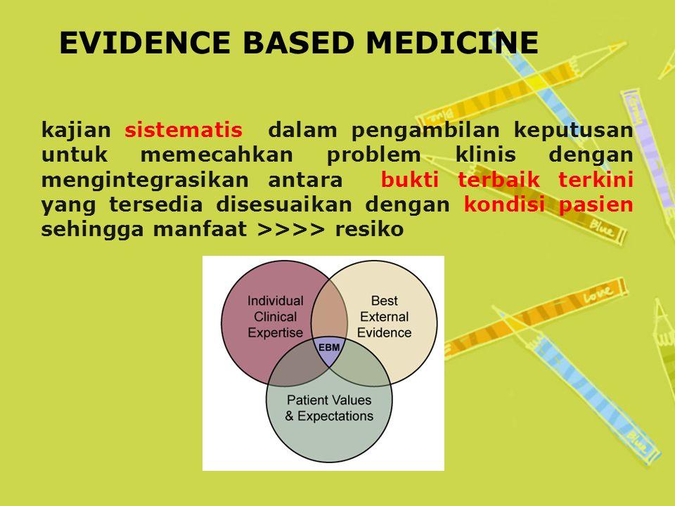 EVIDENCE BASED MEDICINE kajian sistematis dalam pengambilan keputusan untuk memecahkan problem klinis dengan mengintegrasikan antara bukti terbaik terkini yang tersedia disesuaikan dengan kondisi pasien sehingga manfaat >>>> resiko