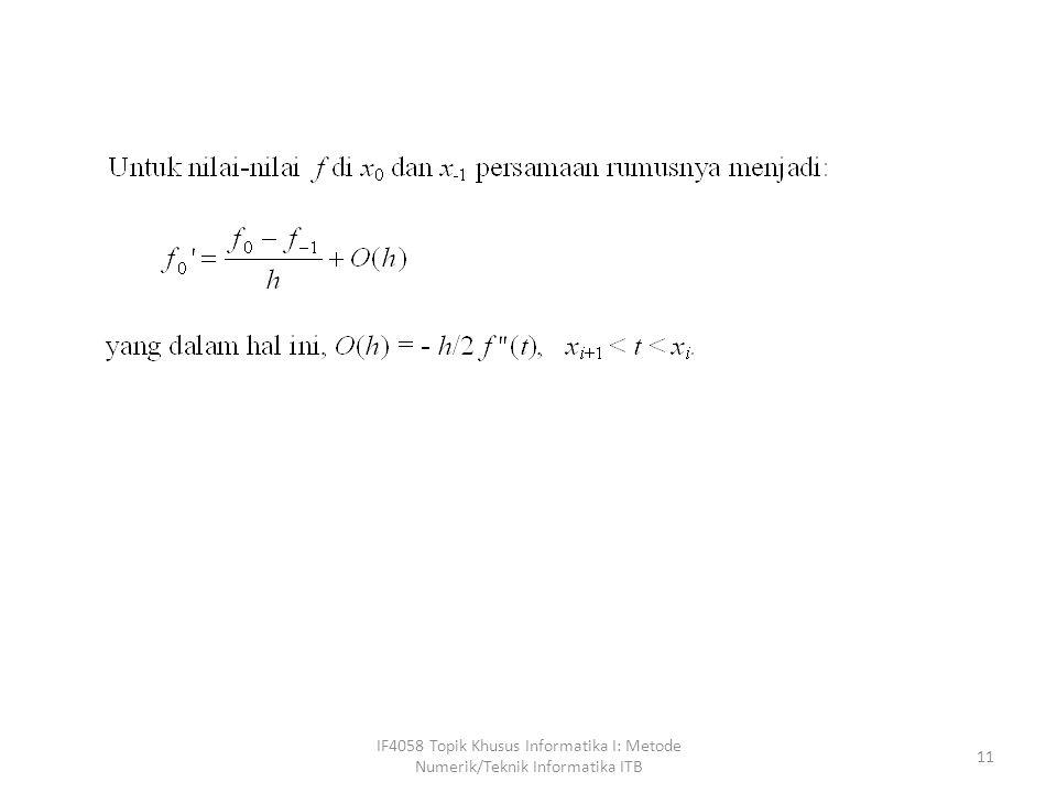 IF4058 Topik Khusus Informatika I: Metode Numerik/Teknik Informatika ITB 11