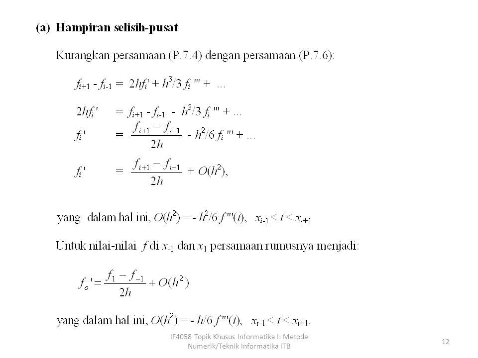 IF4058 Topik Khusus Informatika I: Metode Numerik/Teknik Informatika ITB 12