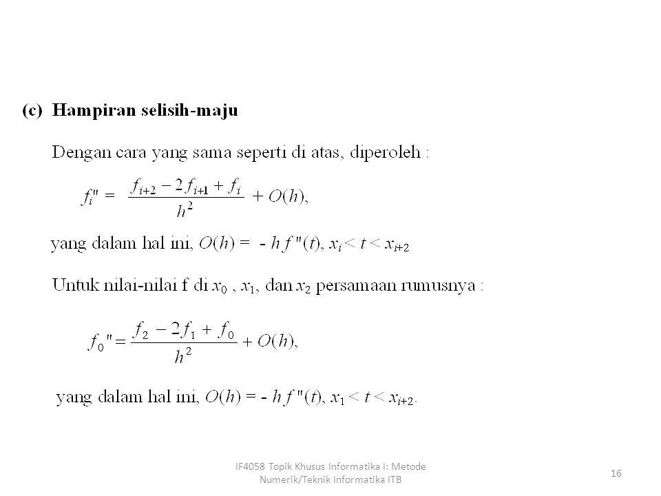 IF4058 Topik Khusus Informatika I: Metode Numerik/Teknik Informatika ITB 16
