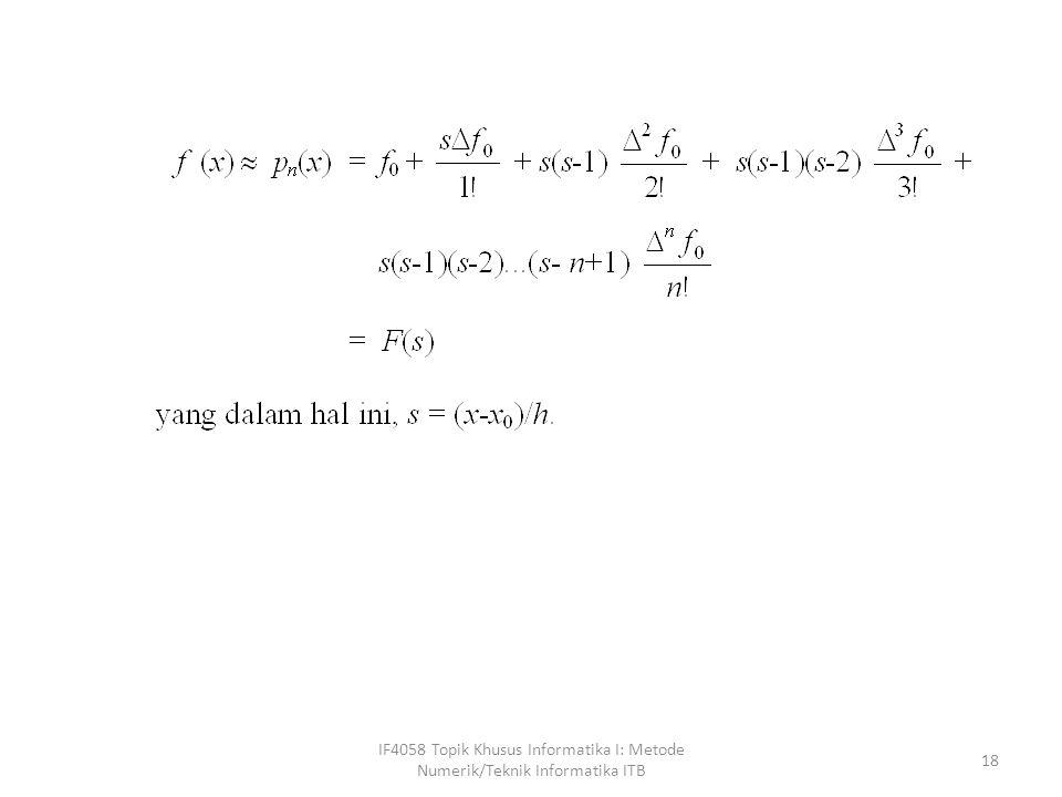 IF4058 Topik Khusus Informatika I: Metode Numerik/Teknik Informatika ITB 18