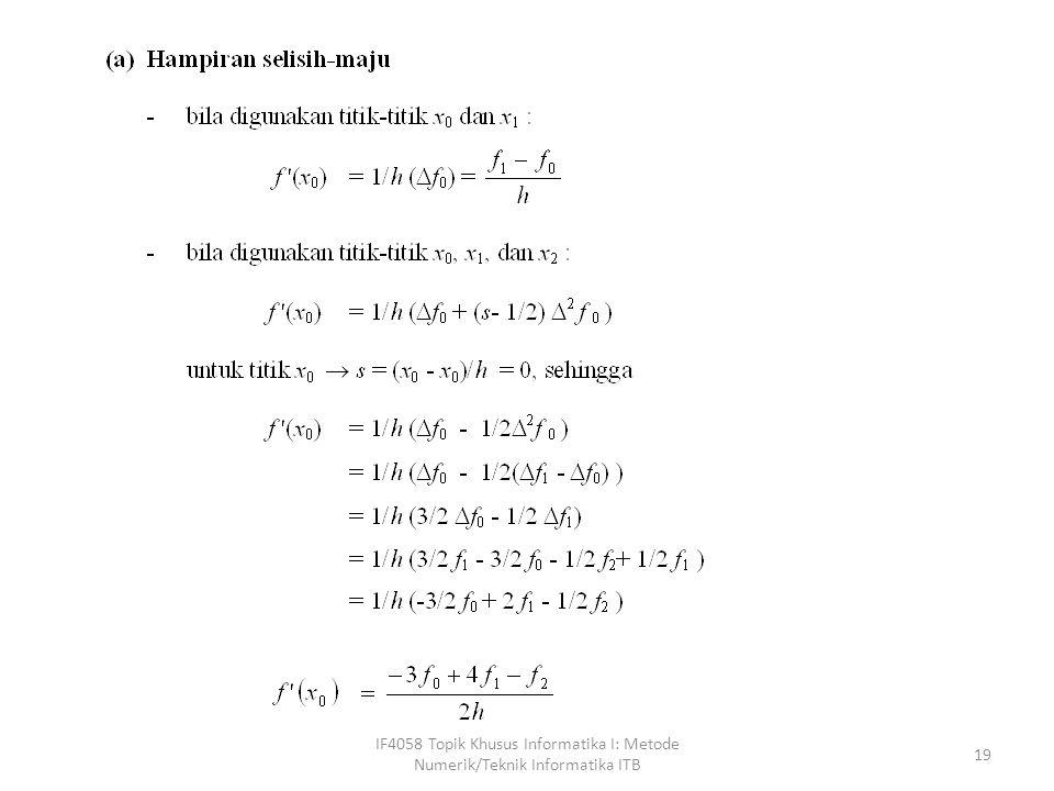 IF4058 Topik Khusus Informatika I: Metode Numerik/Teknik Informatika ITB 19
