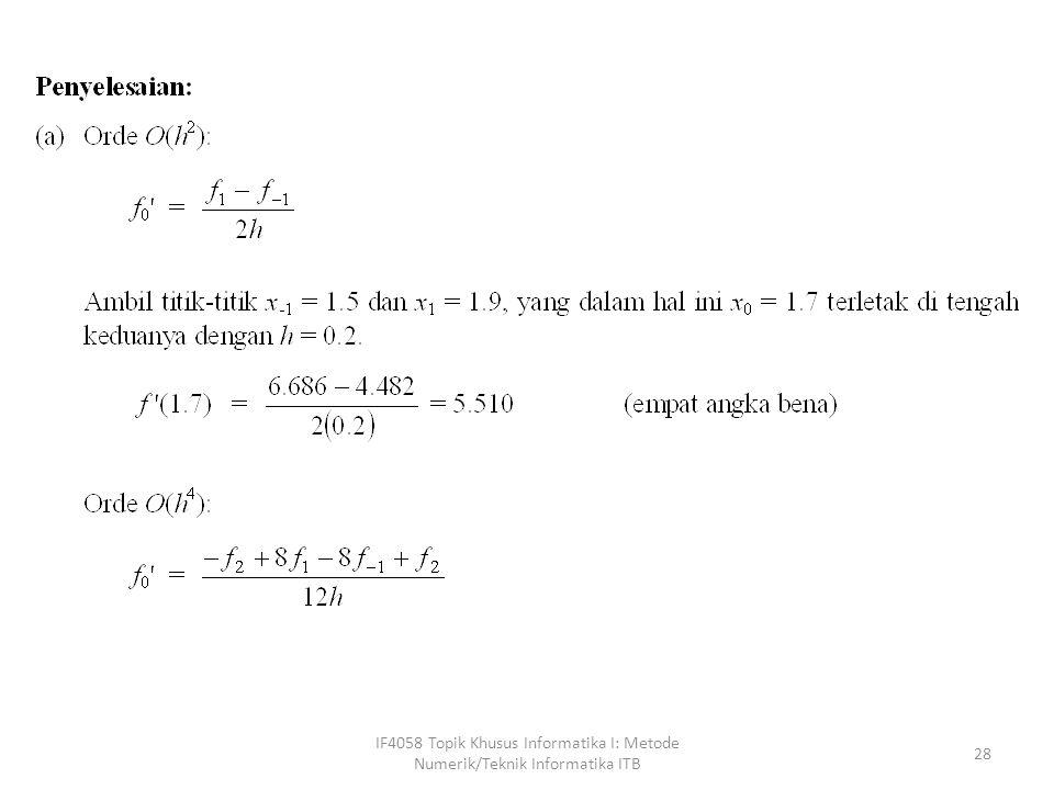 IF4058 Topik Khusus Informatika I: Metode Numerik/Teknik Informatika ITB 28