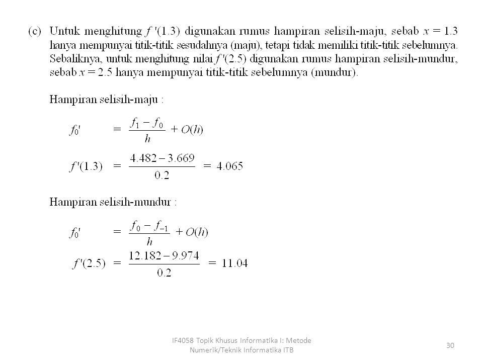 IF4058 Topik Khusus Informatika I: Metode Numerik/Teknik Informatika ITB 30