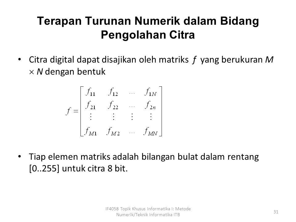 Terapan Turunan Numerik dalam Bidang Pengolahan Citra Citra digital dapat disajikan oleh matriks f yang berukuran M  N dengan bentuk Tiap elemen matriks adalah bilangan bulat dalam rentang [0..255] untuk citra 8 bit.