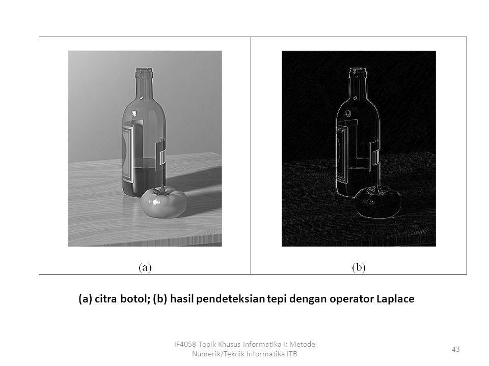 IF4058 Topik Khusus Informatika I: Metode Numerik/Teknik Informatika ITB 43 (a) citra botol; (b) hasil pendeteksian tepi dengan operator Laplace