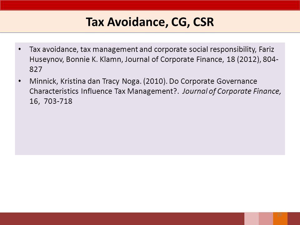 Tax Avoidance, CG, CSR Tax avoidance, tax management and corporate social responsibility, Fariz Huseynov, Bonnie K. Klamn, Journal of Corporate Financ