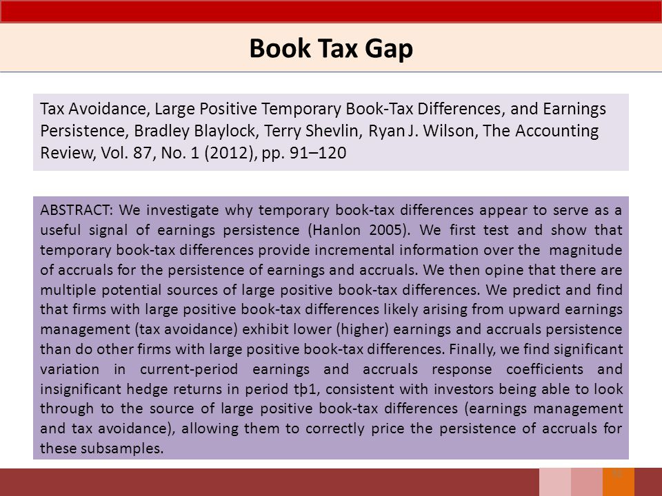Book Tax Gap Tax Avoidance, Large Positive Temporary Book-Tax Differences, and Earnings Persistence, Bradley Blaylock, Terry Shevlin, Ryan J.