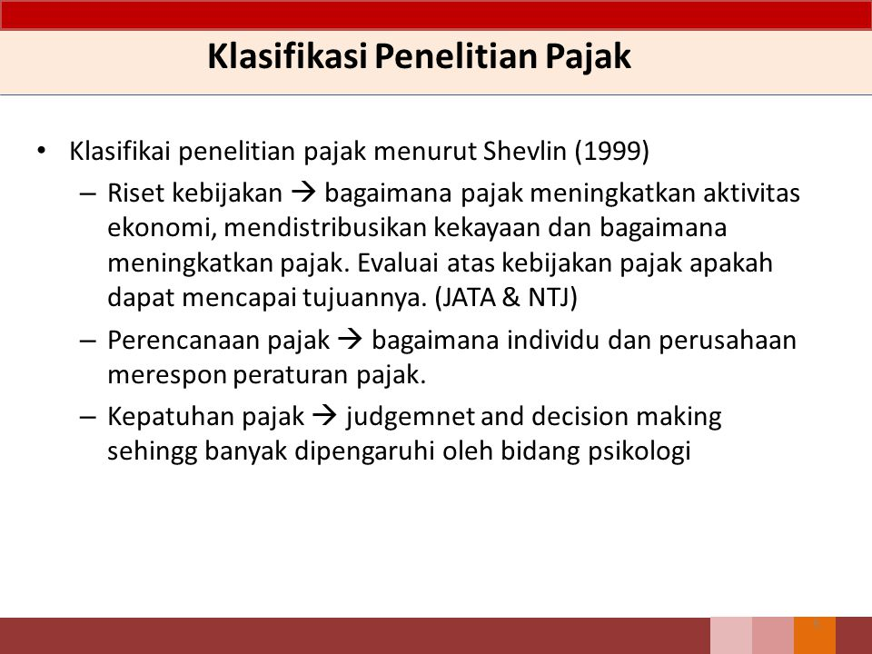 Pengukuran Tax Avoidance 16 Metode Pengukuran Cara PerhitunganKeterangan GAAP ETR Total tax expense per dollar of pre-tax book income Current ETR Current tax expense per dollar of pre-tax book income Cash ETR Cash tax paid per dollar of pre- tax book income Long-run cash ETR Sum of taxes paid per over n years divided by the sum of pre- tax earnings over n years ETR DifferentialStatutory ETR- GAAP ETR The differences of between the statutory ETR and the firm´s GAAP ETR DTAXError term from following regression : ETR differential x Pre-tax book income = a +b x controls + e The unexplained portion of the ETR differential Sumber : Hanlon dan Heitzman (2010)