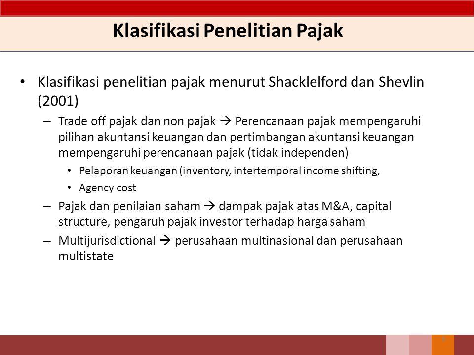Klasifikasi Penelitian Pajak Klasifikasi penelitian pajak menurut Shacklelford dan Shevlin (2001) – Trade off pajak dan non pajak  Perencanaan pajak