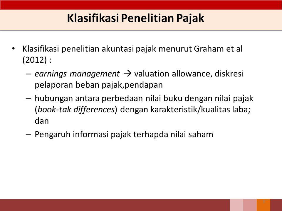 Klasifikasi Penelitian Pajak Klasifikasi penelitian akuntasi pajak menurut Graham et al (2012) : – earnings management  valuation allowance, diskresi