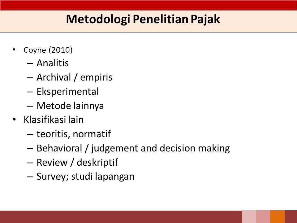 Metodologi Penelitian Pajak Coyne (2010) – Analitis – Archival / empiris – Eksperimental – Metode lainnya Klasifikasi lain – teoritis, normatif – Beha