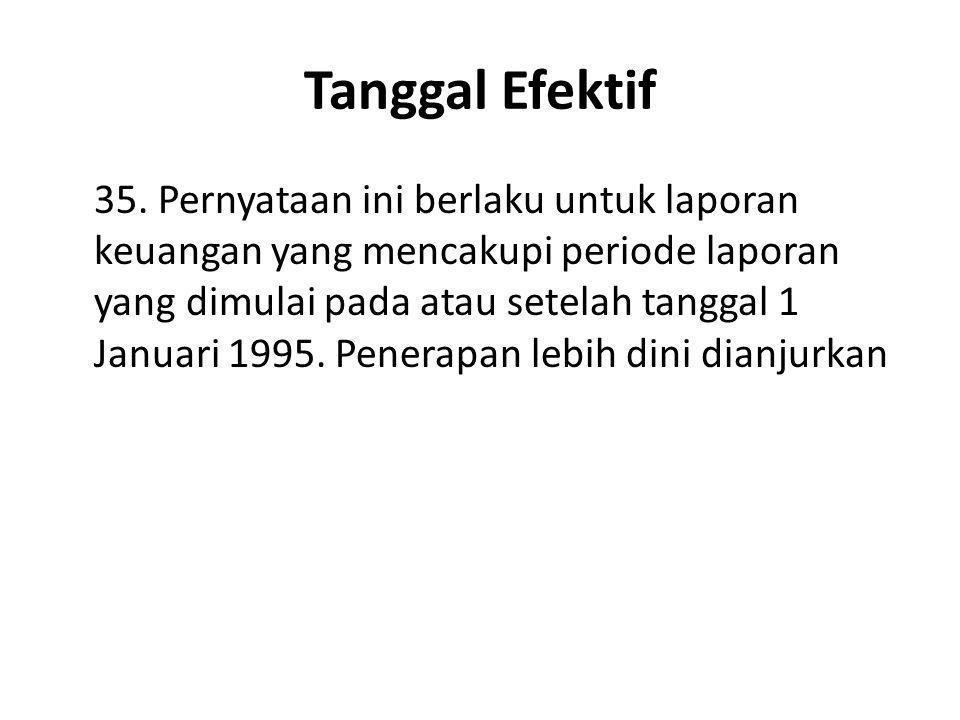 Tanggal Efektif 35. Pernyataan ini berlaku untuk laporan keuangan yang mencakupi periode laporan yang dimulai pada atau setelah tanggal 1 Januari 1995