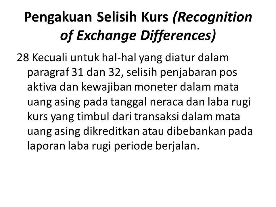 Pengakuan Selisih Kurs (Recognition of Exchange Differences) 28 Kecuali untuk hal-hal yang diatur dalam paragraf 31 dan 32, selisih penjabaran pos akt