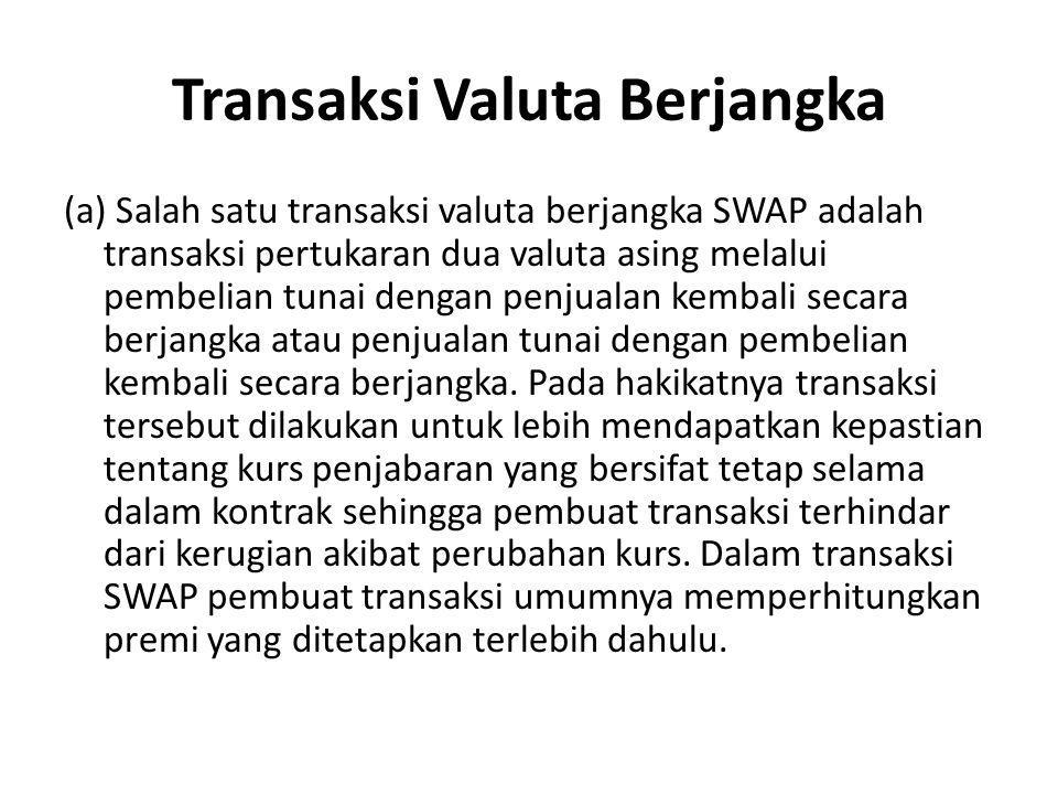 Transaksi Valuta Berjangka (a) Salah satu transaksi valuta berjangka SWAP adalah transaksi pertukaran dua valuta asing melalui pembelian tunai dengan