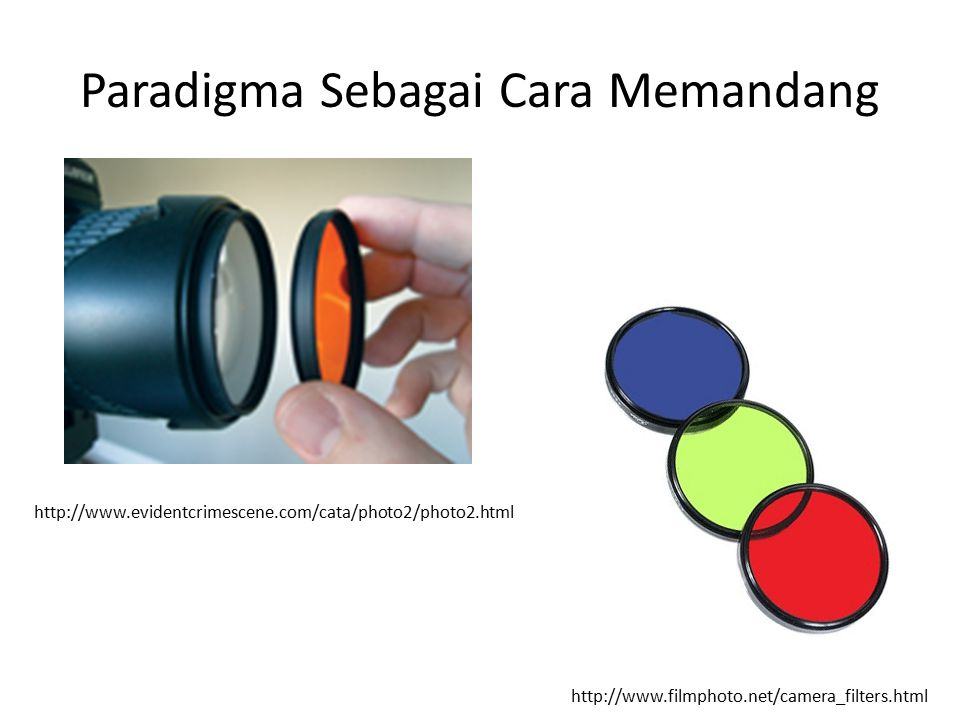Paradigma Sebagai Cara Memandang http://www.filmphoto.net/camera_filters.html http://www.evidentcrimescene.com/cata/photo2/photo2.html