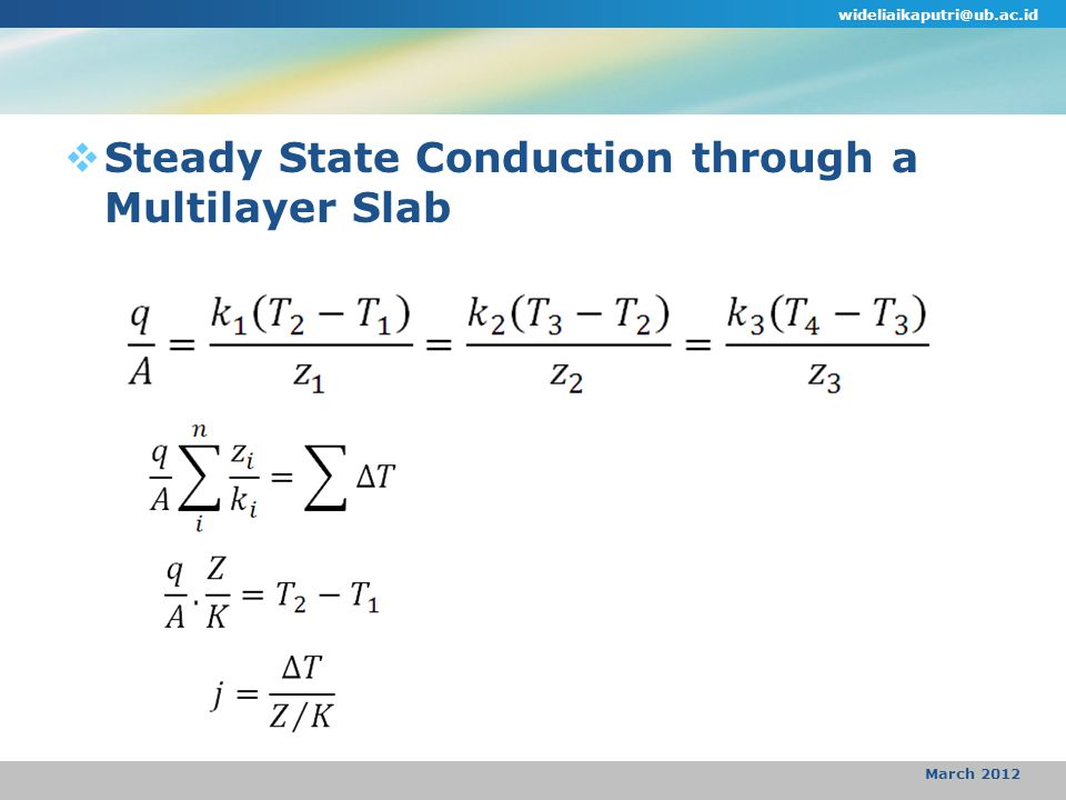 wideliaikaputri@ub.ac.id March 2012  Steady State Conduction through a Multilayer Slab