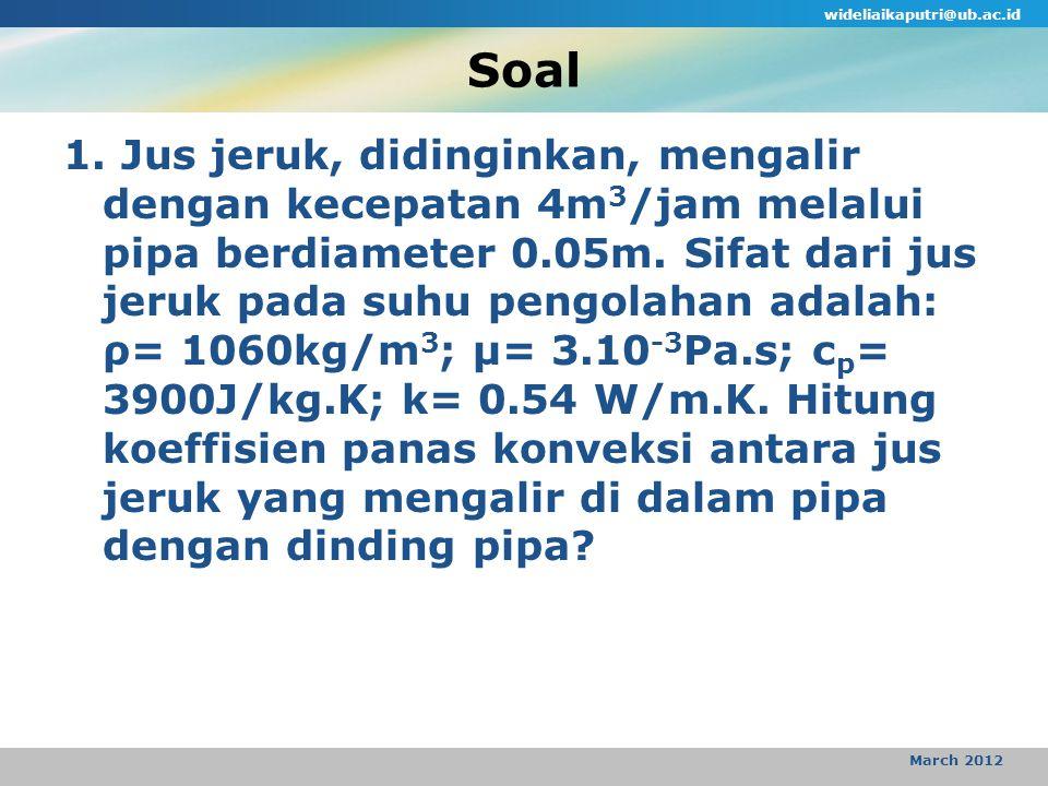 Soal 1.Jus jeruk, didinginkan, mengalir dengan kecepatan 4m 3 /jam melalui pipa berdiameter 0.05m.