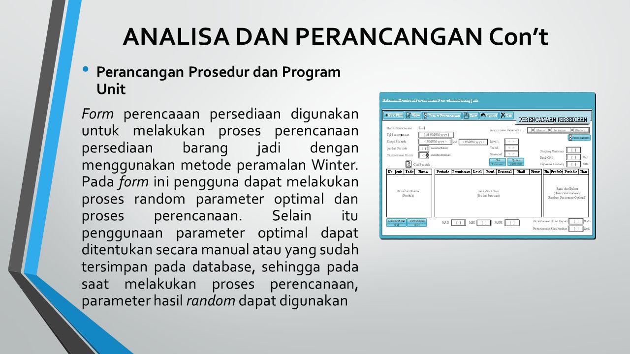 ANALISA DAN PERANCANGAN Con't Perancangan Prosedur dan Program Unit Form perencaaan persediaan digunakan untuk melakukan proses perencanaan persediaan barang jadi dengan menggunakan metode peramalan Winter.
