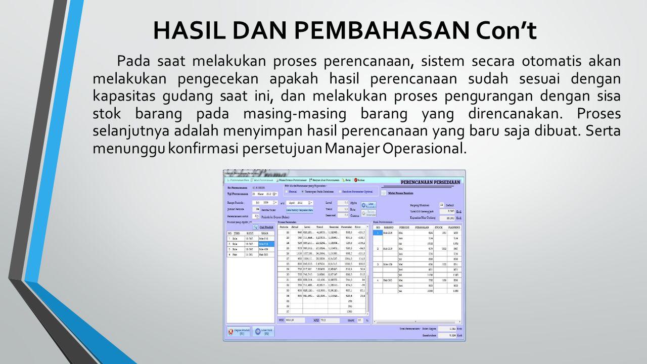 HASIL DAN PEMBAHASAN Con't Pada saat melakukan proses perencanaan, sistem secara otomatis akan melakukan pengecekan apakah hasil perencanaan sudah ses