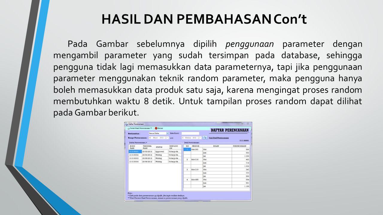 HASIL DAN PEMBAHASAN Con't Pada Gambar sebelumnya dipilih penggunaan parameter dengan mengambil parameter yang sudah tersimpan pada database, sehingga pengguna tidak lagi memasukkan data parameternya, tapi jika penggunaan parameter menggunakan teknik random parameter, maka pengguna hanya boleh memasukkan data produk satu saja, karena mengingat proses random membutuhkan waktu 8 detik.