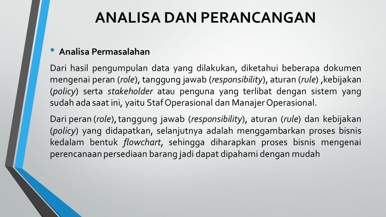 ANALISA DAN PERANCANGAN Analisa Permasalahan Dari hasil pengumpulan data yang dilakukan, diketahui beberapa dokumen mengenai peran (role), tanggung ja