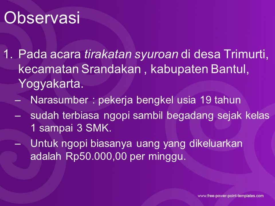 Observasi 1.Pada acara tirakatan syuroan di desa Trimurti, kecamatan Srandakan, kabupaten Bantul, Yogyakarta. –Narasumber : pekerja bengkel usia 19 ta