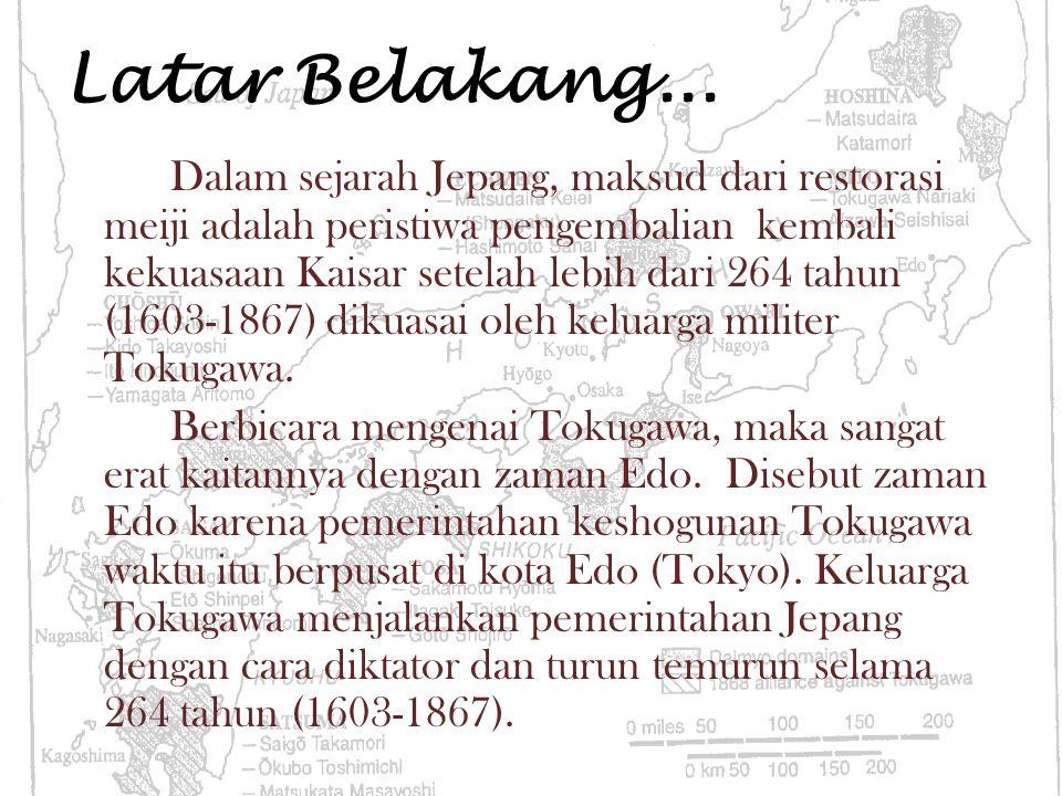 Latar Belakang... Dalam sejarah Jepang, maksud dari restorasi meiji adalah peristiwa pengembalian kembali kekuasaan Kaisar setelah lebih dari 264 tahu