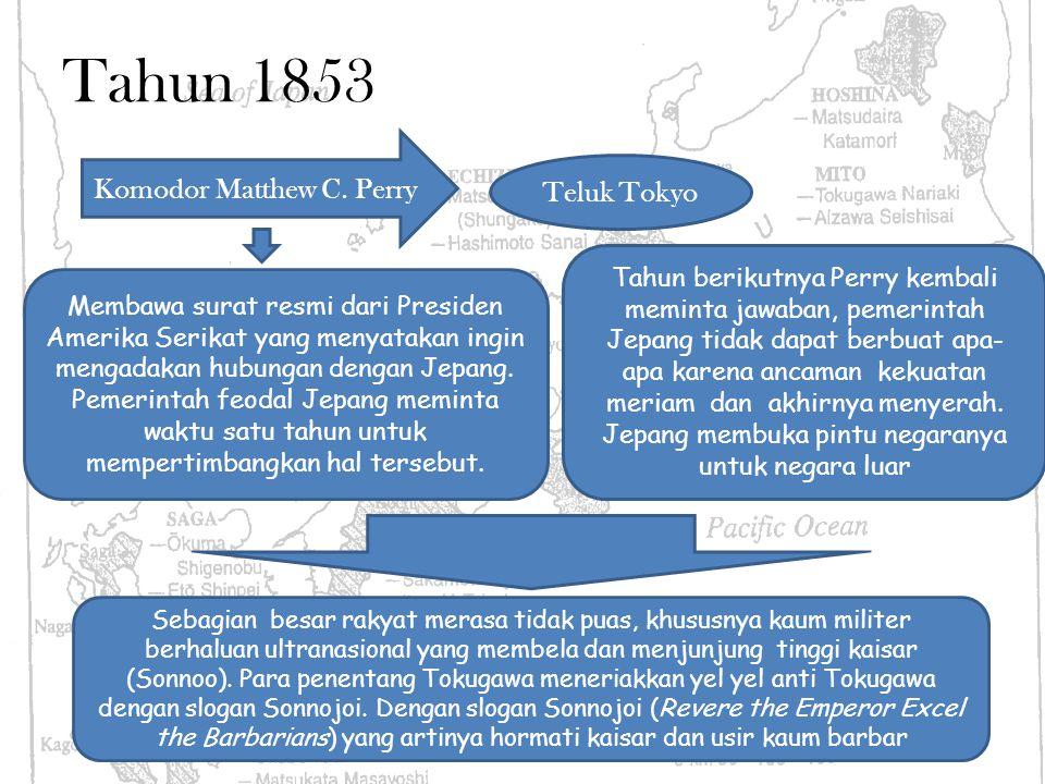 Tahun 1853 Komodor Matthew C. Perry Teluk Tokyo Membawa surat resmi dari Presiden Amerika Serikat yang menyatakan ingin mengadakan hubungan dengan Jep