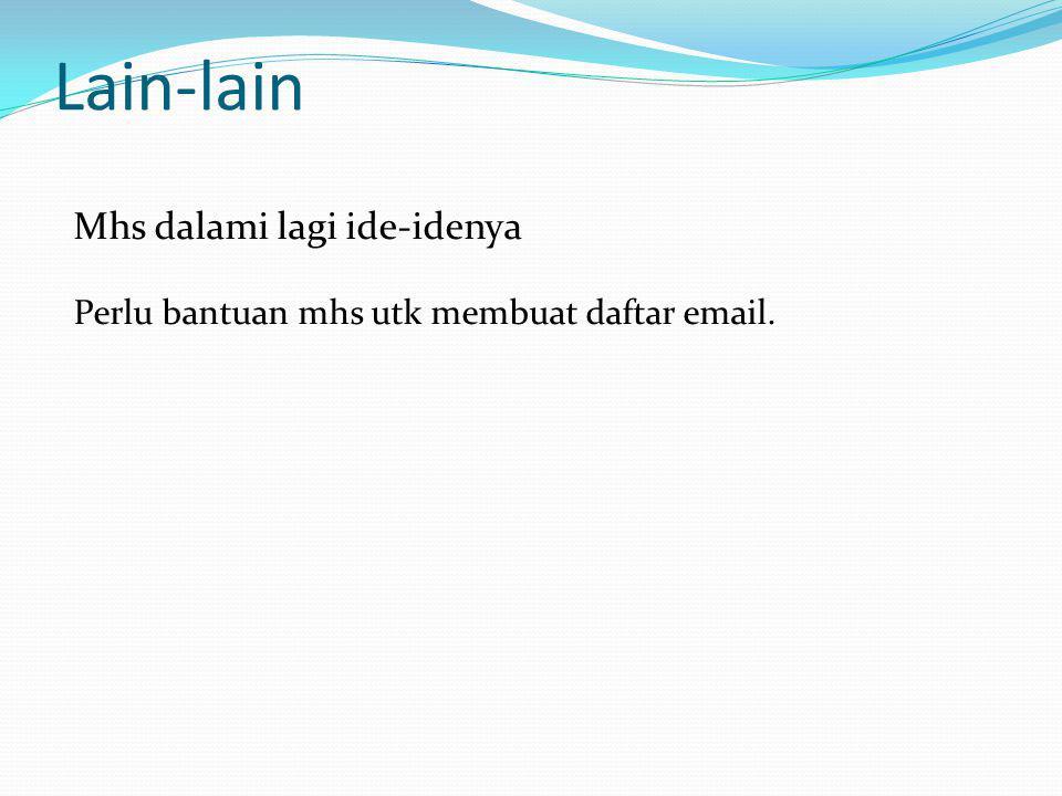 Lain-lain Mhs dalami lagi ide-idenya Perlu bantuan mhs utk membuat daftar email.