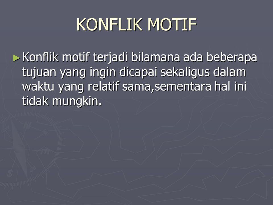 KONFLIK MOTIF ► Konflik motif terjadi bilamana ada beberapa tujuan yang ingin dicapai sekaligus dalam waktu yang relatif sama,sementara hal ini tidak