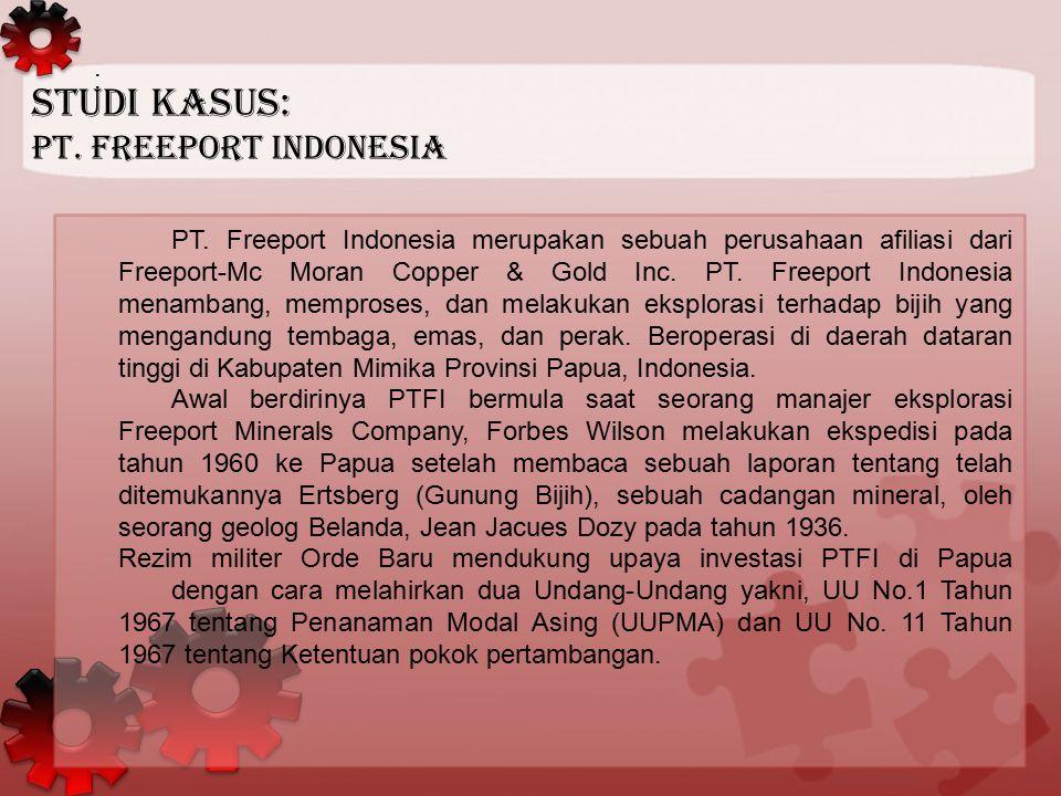 : PT. Freeport Indonesia merupakan sebuah perusahaan afiliasi dari Freeport-Mc Moran Copper & Gold Inc. PT. Freeport Indonesia menambang, memproses, d