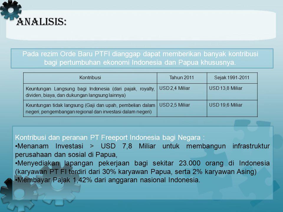 Analisis: Pada rezim Orde Baru PTFI dianggap dapat memberikan banyak kontribusi bagi pertumbuhan ekonomi Indonesia dan Papua khususnya. Kontribusi dan