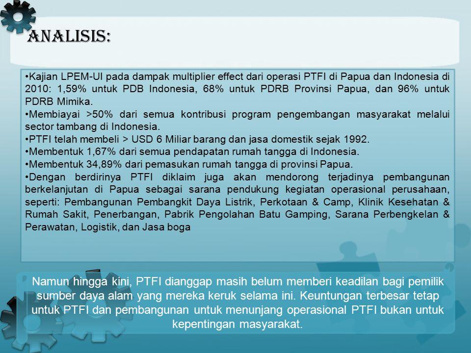 Analisis:. Kajian LPEM-UI pada dampak multiplier effect dari operasi PTFI di Papua dan Indonesia di 2010: 1,59% untuk PDB Indonesia, 68% untuk PDRB Pr