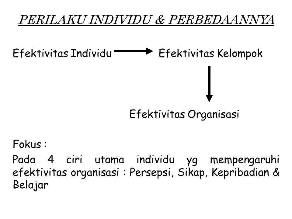 PERILAKU INDIVIDU & PERBEDAANNYA Efektivitas IndividuEfektivitas Kelompok Efektivitas Organisasi Fokus : Pada 4 ciri utama individu yg mempengaruhi efektivitas organisasi : Persepsi, Sikap, Kepribadian & Belajar