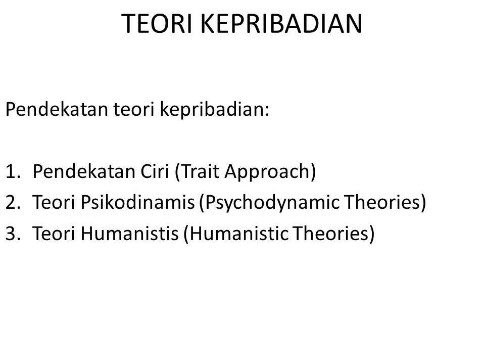 TEORI KEPRIBADIAN Pendekatan teori kepribadian: 1.Pendekatan Ciri (Trait Approach) 2.Teori Psikodinamis (Psychodynamic Theories) 3.Teori Humanistis (H
