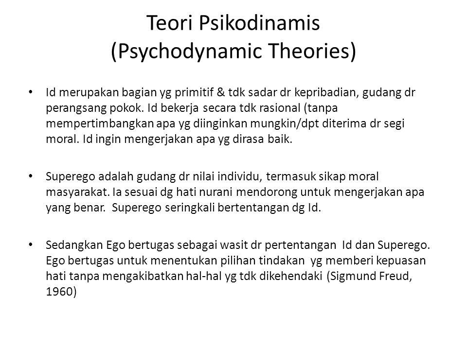 Teori Psikodinamis (Psychodynamic Theories) Id merupakan bagian yg primitif & tdk sadar dr kepribadian, gudang dr perangsang pokok. Id bekerja secara