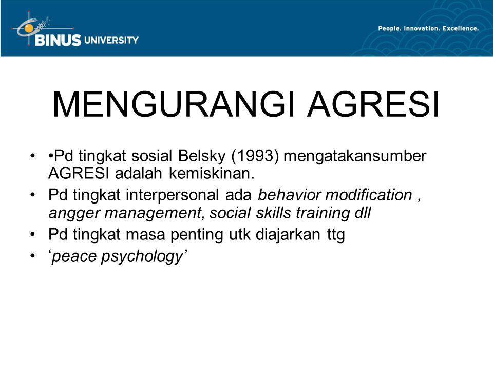 MENGURANGI AGRESI Pd tingkat sosial Belsky (1993) mengatakansumber AGRESI adalah kemiskinan. Pd tingkat interpersonal ada behavior modification, angge