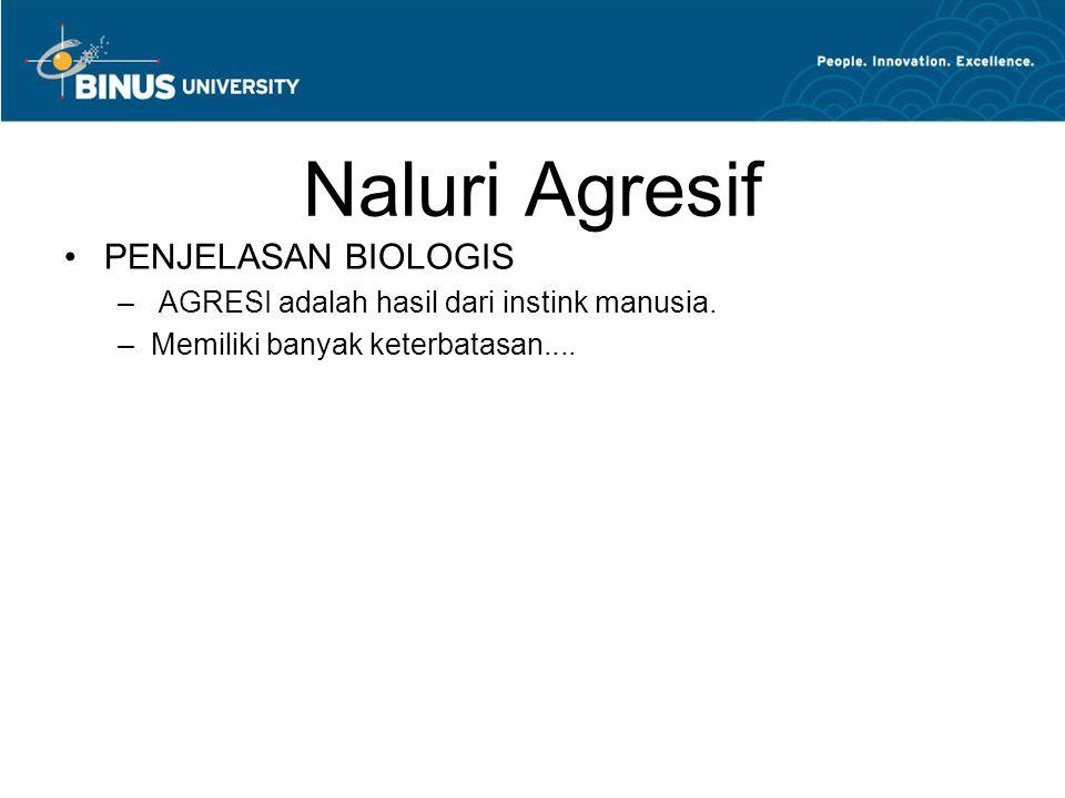 Naluri Agresif PENJELASAN BIOLOGIS – AGRESI adalah hasil dari instink manusia. –Memiliki banyak keterbatasan....