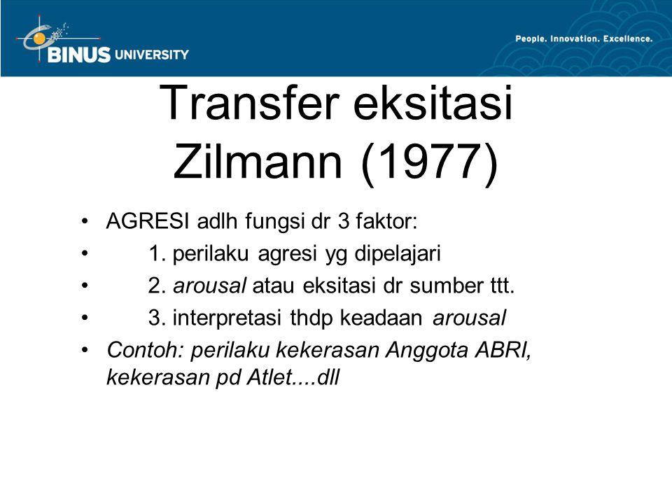 Transfer eksitasi Zilmann (1977) AGRESI adlh fungsi dr 3 faktor: 1. perilaku agresi yg dipelajari 2. arousal atau eksitasi dr sumber ttt. 3. interpret