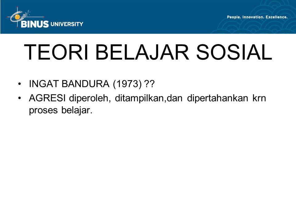 TEORI BELAJAR SOSIAL INGAT BANDURA (1973) ?? AGRESI diperoleh, ditampilkan,dan dipertahankan krn proses belajar.